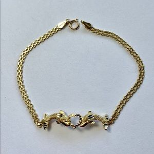 Jewelry - Real 10k Gold 2 Dolphins Heart Women's Bracelet